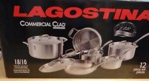 LAGOSTINA 3-PLY COMMERICAL CLAD COOKWARE SET, 12 PC