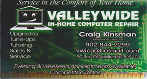 In-home Computer repair Annapolis Valley and Surrounding areas