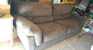 large brown microsuede couch delivery included