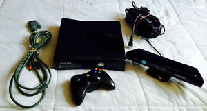 Xbox 360 S with Kinect, one remote and all cords and 16 games.