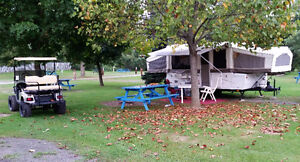 Rockwood Premier Camping Trailer with Golf Cart for sale