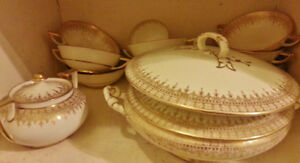 Vintage gold embossed china large dinner ware set!