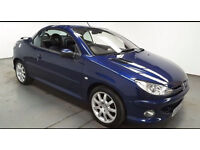 2005(05)PEUGEOT 206 CC 2.0 MET BLUE,VERY LOW MILES,NEW MOT,FULL LEATHER,CLEAN CAR,GREAT VALUE