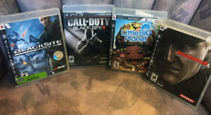 Four PS3 Games - MGS4, Little Big Planet, Blacksite,  COD BO2