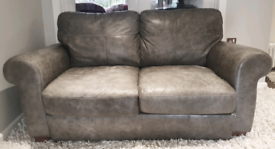 DELIVERY INCLUDED grey pebble leather 2 seater sofa