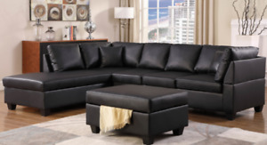SECTIONAL-SOFA COUCH WITH MATCHING OTTOMAN BONDED LEATHER