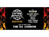 3 tickets for Afro beats festival with WIZKID at the O2 on Sat, May 26th