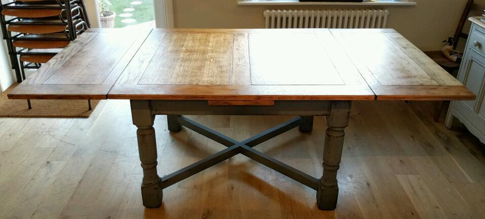 Refurbished Antique Oak Draw Leaf Table Extends To Seat 10, Extending  Dining Table