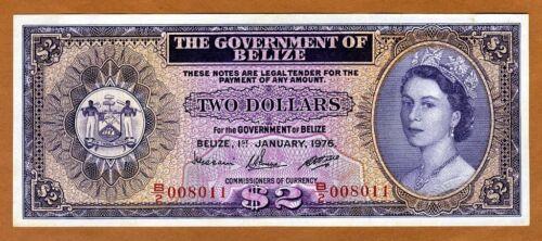 Belize, 2 Dollars, 1975, QEII, P-34b, UNC