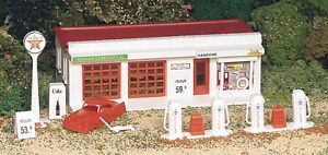 New-In-Box-Plasticville-HO-TEXACO-SHELL-Gas-Station-Accessories