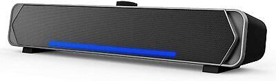 Altavoces PC, HEANTTV Barra de Sonido Cableado LED Luz 3,5mm 2.0 USB...