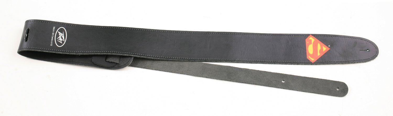 PEAVEY Leather Guitar Strap SUPERMAN Logo Guitar/Bass Strap