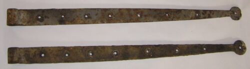 PAIR ANTIQUE WROUGHT IRON STRAP HINGES EARLY-MID 1800