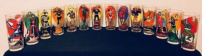 1976 PEPSI DC SUPER SERIES HERO MOON GLASSES - COMPLETE SET of 14 SUPERHEROES!!