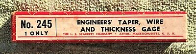 Vintage The L.s. Starrett Engineers Taper Wire Thickness Gage No. 245