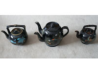 Antique Jetware / Jackfield Twin Spout Punch Pot Teapot Crabstock handle & spout & Bamboo style