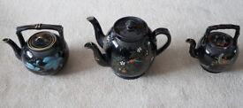 Antique Twin Spout Punch Pot & Two Tea Kettles Teapot