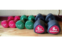3 seperate 'TWIN PACK' DUMB BELLS -3kg, 4kg, 6kg, not long bought-selling altogether for quick sale