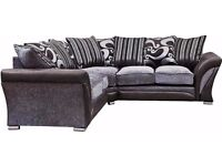 """""""FREE LONDON DELIVERY"""" SHANNON LEATHER & FABRIC SOFA SUITE 3+2 + CORNER - BLACK/GREY, BROWN/BEIGE"""