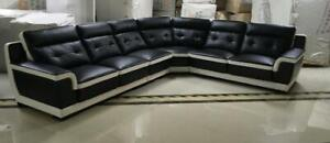 2faece215334 Lord Selkirk Furniture - Kinley Sectional in Microfibre Leather in Black  and White