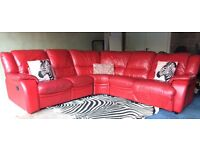 Recliner Gorgeous Red Leather Corner Sofa- Can Deliver