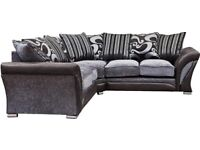 🔵💖SHANNON SOFA FABRIC & FAUX LEATHER-CORNER/3+2 SEATER-black and grey only