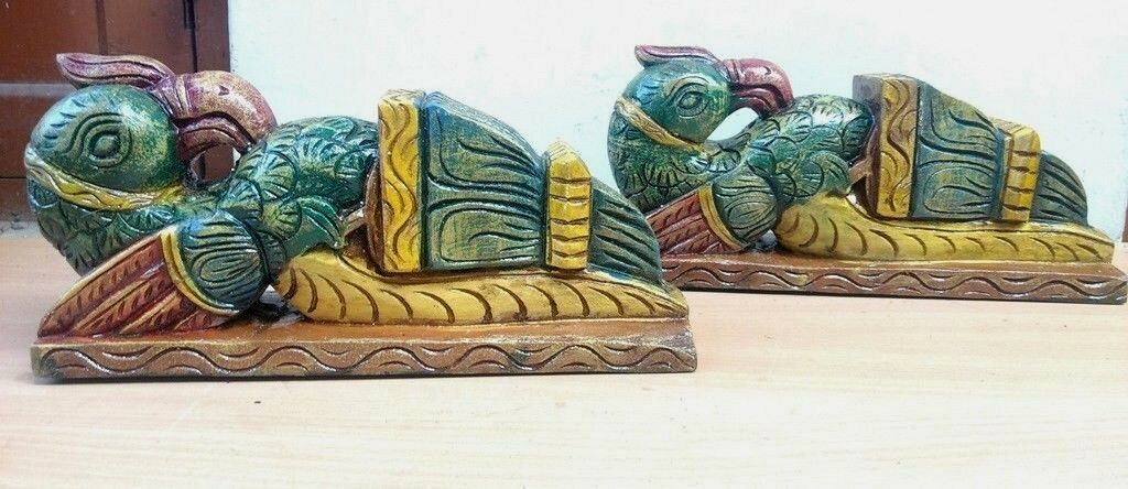 Wall Corbel Pair Wooden Bracket Bird Sculpted Vintage Peacock Statue Home Decor