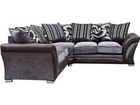 SAME DAY DELIVERY-- BRAND NEW SHANNON CORNER or 3+2 SOFA IN LEATHER & FABRIC, in BLACK or BROWN