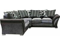🔵💖🔴Stylish & Elegant🔵💖🔴SHANNON SOFA- FABRIC & FAUX LEATHER SHANNON CORNER | 3 2 SEATER GREY