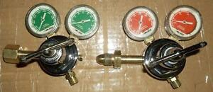 PAIR OF LINDE #2700 OXYGEN - PROPANE & ACETYLENE REGULATORS