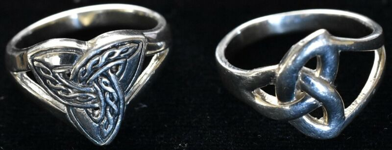 2 Sterling Celtic Knot Rings Finger Size 7 1/4 Trinity