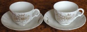 Pair of Imperial Russian Kuznetsov Volhov factory porcelain cup and saucer 19th.
