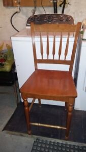 4 bar height chairs maple in color could use resanded .