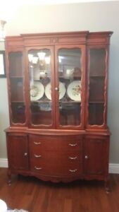 Solid Wood China Cabinet and Dining table with 6 chairs