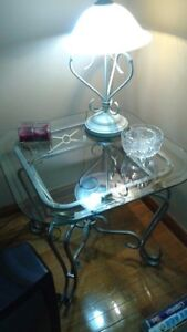 reduced..3 pieces glass/metal coffee end and studio wall table