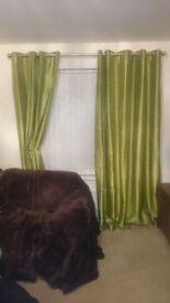 Green Eyelet lined Curtains Size 225 x 137cm (each curtain)