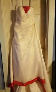 Red and White size 16 wedding dress