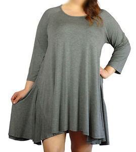 Women's Plus Size Tent Top 3/4 Sleeves