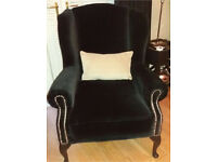 Black velour custom designer arm chair