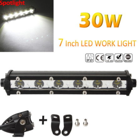 "7"" Inch Single Row 30W Epistar Chips LED Light Bar For Offroad Wrangler 4*4 SUV ATV Tractor"