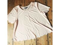 Topshop shell t-shirt in pale pink - Size 14