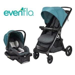 NEW EVENFLO LUX24 TRAVEL SYSTEM 45711814C 224059507 STROLLER CAR SEAT MFG 06 23 2016