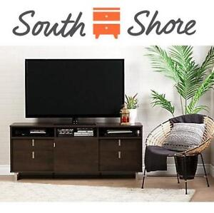 """NEW* SOUTH SHORE UBER TV STAND 10521 202142372 FOR TV'S UP TO 60"""" BROWN OAK"""