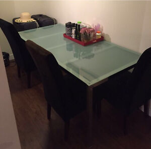 FROSTED GLASS TABLE & 4 SUEDE DINNING SET