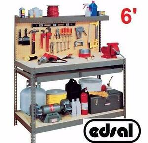 NEW* EDSAL HEAVY DUTY WORK BENCH 6' orkbench with Double Drawer GARAGE WORKBENCH 72 in. W x 24 in. D x 60 in. H 97345341