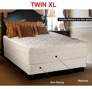 NEW TWIN XL MATTRESS 9000-3/3-2 xl 209047073 W/ BOX SPRING EURO TOP FOAM ENCASED