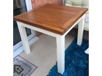 Flip Top Extendable Dining table and 4 chairs-Oak top table with painted legs and chairs