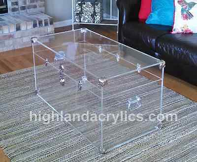 Acrylic Lucite Clear Large Trunk Coffee Table