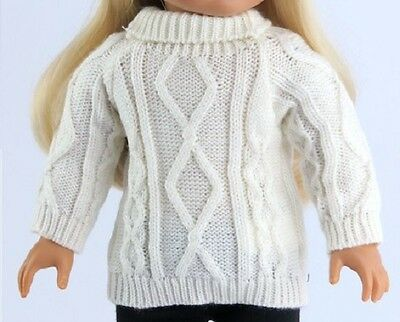 Irish White Cable Sweater for American Girl 18
