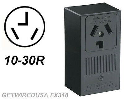 Dryer Wall Box - DRYER ELECTRIC WALL OUTLET FEMALE 10-30R 3-PRONG PLUG IN BOX 220 RECEPTACLE